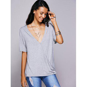 Plunging Neck Solid Color Wrap T Shirt For Women