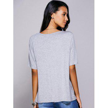 Casual Women's Plunging Neck Solid Color Wrap T-Shirt - GRAY S