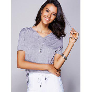 Casual Women's V-Neck High Low T-Shirt - GRAY S