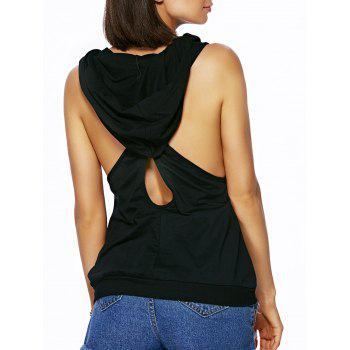 Stylish Hooded Sleeveless Pure Color Cut Out Tank Top For Women