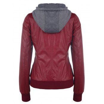 Faux Twinset Double Zipper PU Leather Hooded Jacket - WINE RED M