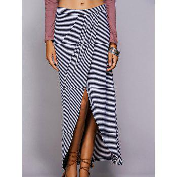 Casual Women's Striped Wrap Maxi Skirt