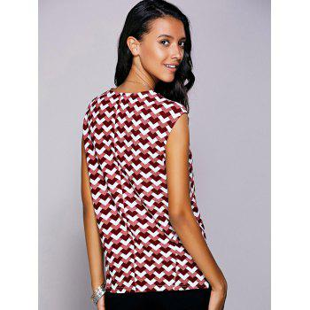 Casual Women's Round Neck Geometric Top - RED L