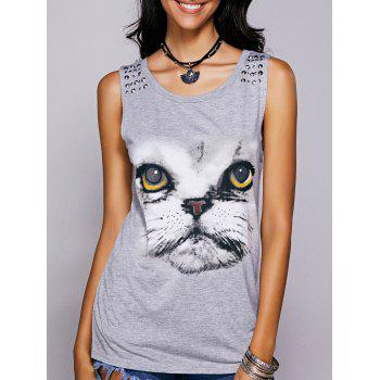 Casual Women's Scoop Neck Printed Studded Tee