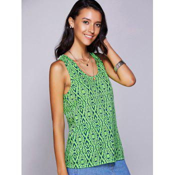 Casual Women's Scoop Neck Geo Crochet Tank Top - GREEN L