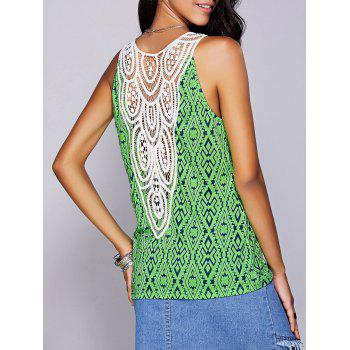 Casual Women's Scoop Neck Geo Crochet Tank Top