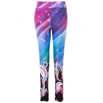 High Waist Trippy Print Bodycon Yoga Pants For Women - M M