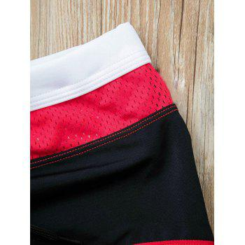 Color Lump Spliced Letters Pattern Lace-Up Men's Boxer Swimming Trunks - BLACK BLACK