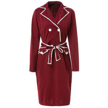 Stylish Lapel Long Sleeve Belted Color Block Women's Dress