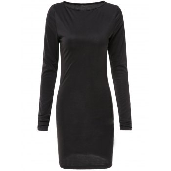 Casual Round Neck Long Sleeve Slimming Solid Color Women's Dress