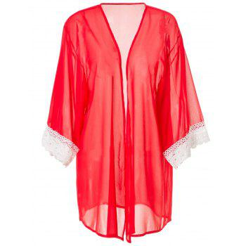 Stylish Collarless 3/4 Sleeve Laciness Loose-Fitting Women's Kimono Blouse - RED L