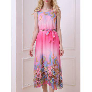 Bohemian Floral Print Sleeveless Women's Chiffon Dress