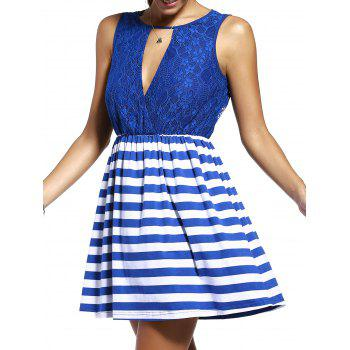 Chic Lace Spliced Cut Out Striped Sleeveless Dress For Women