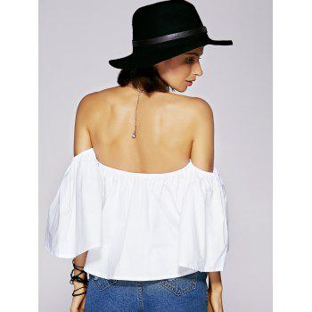 Off The Shoulder Ruffled Charming Women's Blouse - WHITE XL