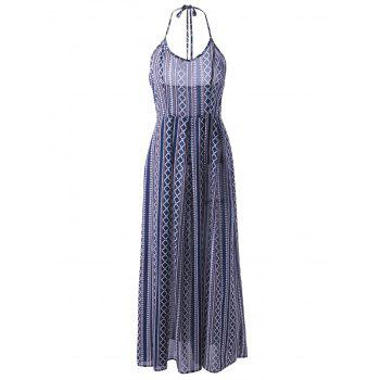 Ethnic Style Women's Fitted Halterneck Backless Maxi Dress