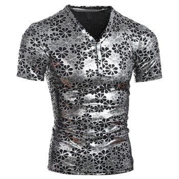 Flower Printing Men's Pullover Short Sleeves T-Shirt - SILVER M