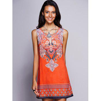 Ethnic Women's Keyhole Neckline Print Dress