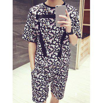 Men's Floral Stripes Pattern Round Neck Short Sleeves Printed T-Shirt Suits(T-Shirt+Shorts)
