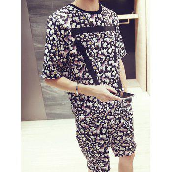 Men's Floral Stripes Pattern Round Neck Short Sleeves Printed T-Shirt Suits(T-Shirt+Shorts) - COLORMIX COLORMIX