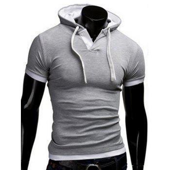 Buy Faux Twinset Hooded Button Embellished Men's Short Sleeves Fitted T-Shirt LIGHT GRAY