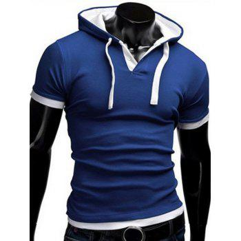 Faux Twinset Hooded Button Embellished Men's Short Sleeves Fitted T-Shirt
