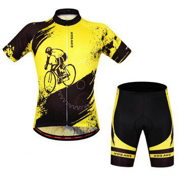 Hot Summer Clothing Jerseys+Shorts Men's Cycling Sets For Outdoor Sport - YELLOW AND BLACK L
