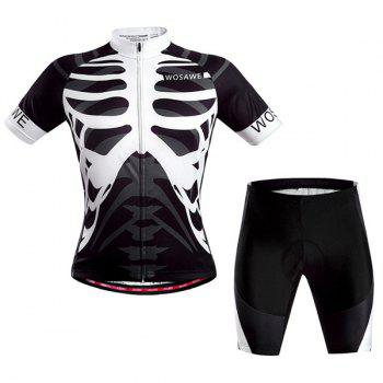 Hot Summer Sportswear Jerseys+Shorts Skeleton Pattern Cycling Sets For Outdoor Sport - WHITE AND BLACK L