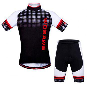 Hot Summer Sportswear Jerseys+Shorts Plaid Pattern Cycling Sets For Outdoor Sport - RED L
