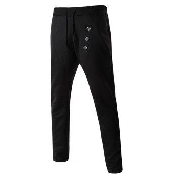Buttons Embellished Lace-Up Narrow Feet Men's Pants