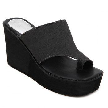 Leisure Wedge Heel and Dark Color Design Women's Slippers