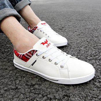 Sports Style Checked and PU Leather Design Men's Casual Shoes