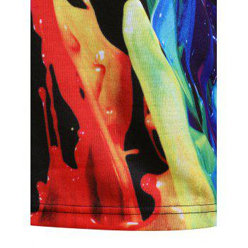 Colorful Pigment Splatter Paint Printed T-Shirt - BLACK 2XL