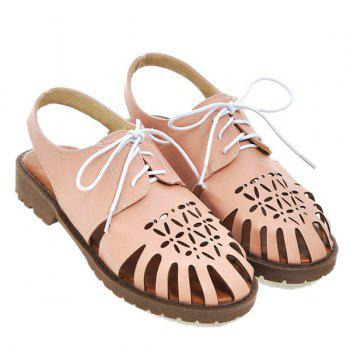 Leisure Lace-Up and Hollow Out Design Women's Sandals - PINK 38