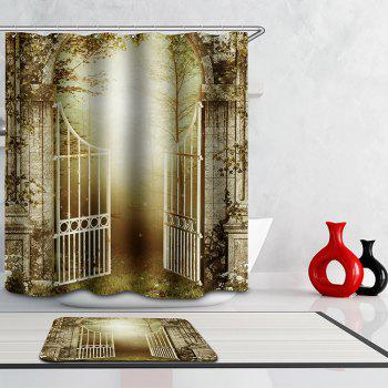 Novelty Door of Jungle Digital Printing Mouldproof Shower Curtain For Bathroom