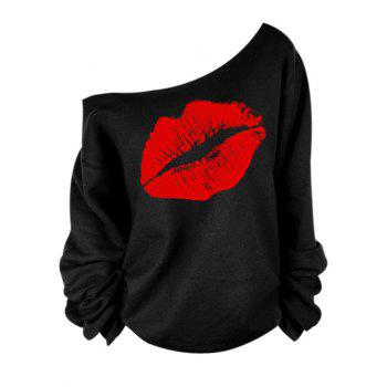 Oblique Shoulder Long Sleeve Lip Print Women T-Shirt