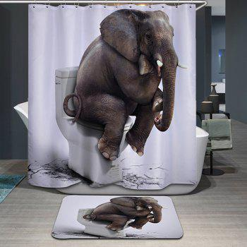 Novelty Waterproof 3D Elephant Toilet Pattern Shower Curtain - WHITE WHITE
