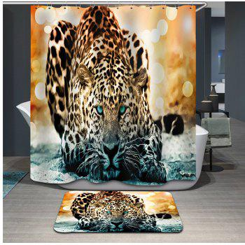 Novelty 3D Snow Leopard Printing Mould Proof Shower Curtain For Bathroom - COLORMIX COLORMIX