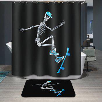 Novelty Skating Human Skeleton Pattern Waterproof Shower Curtain - BLACK BLACK