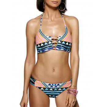 Stylish Multicolor Geometrical Print Halter Bikini For Women