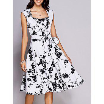Retro Women's Floral Sweetheart Neck Bowknot Embellished Dress