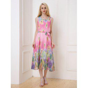 Peacock Tail Pattern Tea Length Chiffon Dress