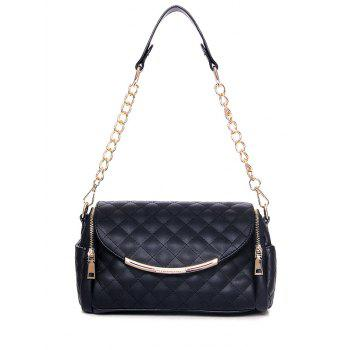 Trendy Checked and Chains Design Shoulder Bag For Women