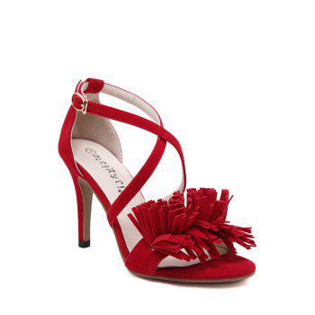 Stylish Fringe and Cross-Strap Design Sandals For Women