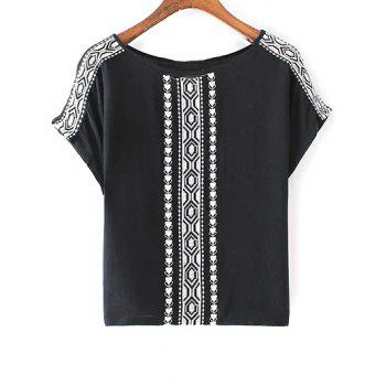 Stylish Round Neck Short Sleeves Ethnic Embroidery Women's T-Shirt