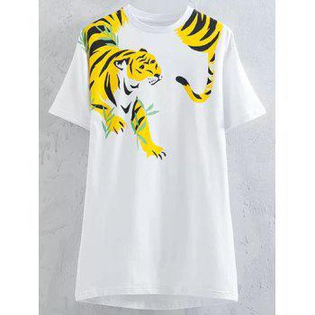 Casual Style Round Neck Short Sleeve Tiger Print Women's T-Shirt