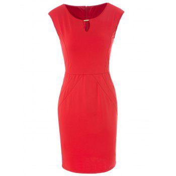 Stylish Keyhole Neck Solid Color Bodycon Sleeveless Dress For Women