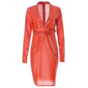 Sexy Style Plunging Neck Faux Leather Packet Buttock Long Sleeve Dress For Women
