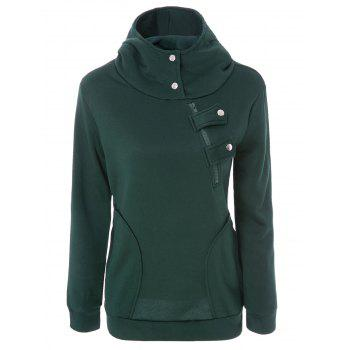 Inclined Zipper Pockets Long Sleeve Pullover Hoodie - GREEN M