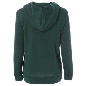 Inclined Zipper Pockets Long Sleeve Pullover Hoodie - L L