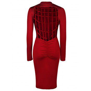 Charming Back Plaid Hollow Out Solid Color Long Sleeve Bodycon Dress For Women - WINE RED S